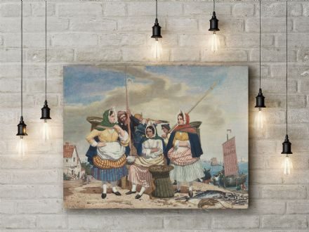 Richard Dadd: Fish Market by the Sea. Fine Art Canvas.